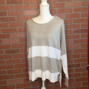 Eileen Fisher linen sweater size L striped (3M66)